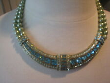 """Heidi Daus """"Every Day Elegance"""" Necklace light green w/blue crystals"""