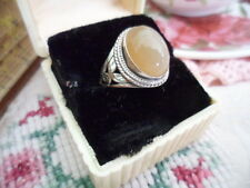 ANTIQUE VINTAGE STERLING SILVER RING with CHALCEDONY OVAL GEMSTONE SIZE 8 or Q