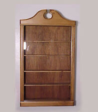 WALL CURIO CABINET   SHADOW BOX  DISPLAY CASE COLLECTIBLES SHELF WALNUT FINISH