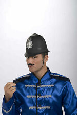 BOBBY HELMET BRITISH UK KEYSTONE COP POLICEMAN COSTUME HAT CAP ENGLISH BLACK