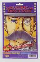 Gray Handlebar Moustache Old Man Gentleman Mustache Self Stick Facial Grey Hair