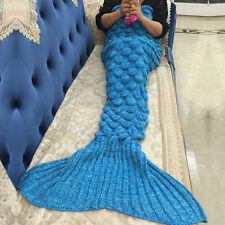 Meerjungfrau Kostüme Kuscheldecke Gehäkelte Stricken Sofa Wohndecke Schlafsack