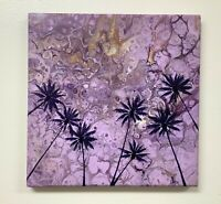 """Original Acrylic Painting """"Caribbean Palms on Purple"""" 12""""x12"""" Stretched Canvas"""