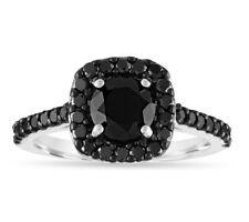 Enhanced Black Diamond Engagement Ring 14K White Gold 1.70 Carat Certified
