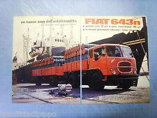 QUATTROR963-PUBBLICITA'/ADVERTISING-1963- FIAT 643 N -2 fogli