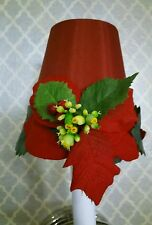 RED GREEN SATIN POINSETTIA CHRISTMAS MINI CHANDELIER SCONCE SHADE
