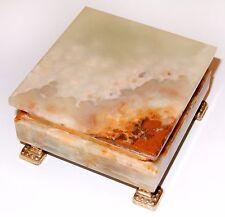 Italian Marble Jewelry Chest Box w Gold Metal Feet by Onice Pietra Pregiata