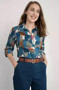 EX Seasalt Blue Larissa Shirt Garden Shapes Mast 10, 12, 14, 18, 20 RRP £45