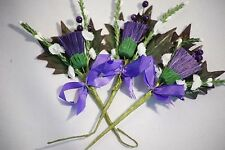 Paper Craft Embellishments-Wedding Decor-Card Making PURPLE THISTLE FLOWER