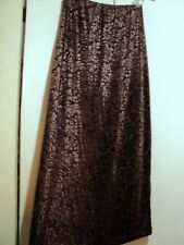 DKNY brown stretch flocked velvet brocade skirt