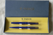 PARKER 15 - PARURE STYLOS PLUME ET BILLE - LAQUE BLEUE - Made in UK - Vintage