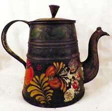 Early Toleware Coffee Pot Flowers Fruit Hand Made by Tinsmith Antique As Is