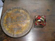 Antique / Vintage Round Biscuit Tin & Chinese Tea Caddy Tin
