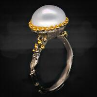 Natural Pearl Ювелирные изделия 925 Sterling Fine Silver Ring / RVS49