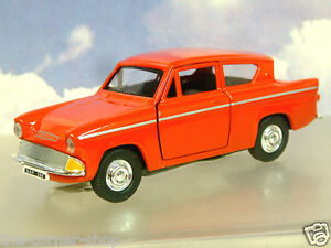 """GREAT SAICO 1/32 DIECAST FORD ANGLIA 105E IN RED WITH PULL BACK MOTOR 5"""" LONG"""