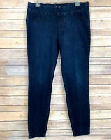 Seven7 Womens Jeggings Jeans Pull On Dark Blue Denim Distressed Stretch Size 12