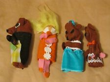 VINTAGE GOLDIE LOCKS AND THE THREE BEARS FELT FINGER PUPPETS BEDTIME FAIRY TALES