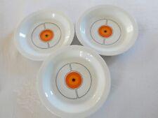 Vintage 3 ASSIETTES CREUSES porcelaine THOMAS Germany décor orange noir années70