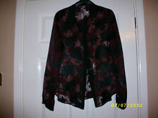 Ladies Burgandy and Black Long Sleeved Blouse Size 10 from Dorothy Perkins