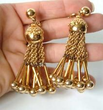 "Vintage Monet Gold Tassel Earrings Chain Fringe Filigree Balls BOLD 3"" Dynamite!"