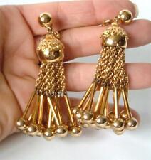"""Vintage Monet Gold Tassel Earrings Chain Fringe Filigree Balls BOLD 3"""" Dynamite!"""