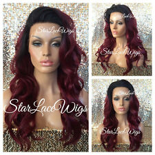 Synthetic Lace Front Wig Burgundy Red Dark Roots Loose Waves Long Heat Safe Ok