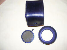 CANON BRAND 49mm POLARIZING GLASS FILTER, WITH LEATHER CASE W/ BONUS HOOD