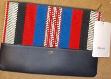 FAB! NWT NEW $530 CELINE Logo Leather / Textile Solo Pouch BAG Red White Blue