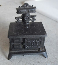 "Small Vintage Cast Iron Dot Miniature Stove 4"" Tall"