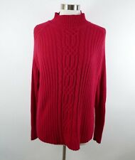 White Stag Womens Silk Angora Blend Cable Knit Ls Mock Neck Solid Red Sweater Xl