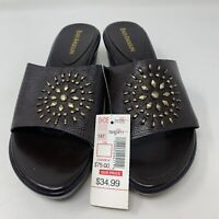 Women's Enzo Angiolini Brown Leather Sandals Size 7 M Slip On
