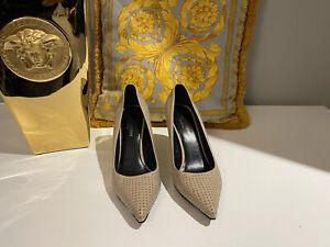 Authentic Ysl Yves Saint Laurent Paris Heels Beige Studded Stud Size 38