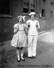 Two Flappers Dressed as Dolls - 1924 - Historic Photo Print