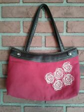 Thirty-One 31 Skirt Purse Handbag Red Embroidered Floral