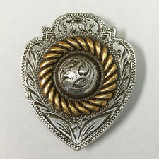 "Western Leathercraft Antique Gold Rope Edge Heart Conchos Size 1-1/2"" x 1-1/4"""
