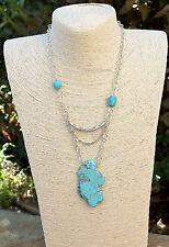 Stunning freeform Turquoise Howlite stone asymmetrical layered necklace Handmade
