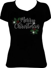 Merry Christmas Holly Bling Shirt, Christmas Rhinestone Bling Shirt
