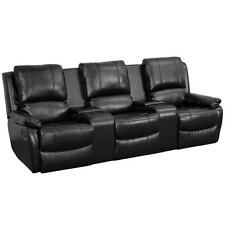 Black Leather Recliner 3 Seat Theater Seating Cup Holders Chairs Gaming Sofa