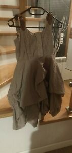 All Saints Vintage Gathered Stripe Dress With Leather Straps Size 8