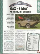 FICHE TECHNIQUE AUTOMOBILE GAZ 46 MAV 1953
