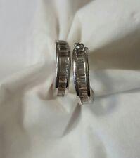 14k white gold synthetic clear baguette hoop earrings