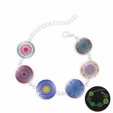 Mandala 6 Flower Bracelet Colorful Chain c Fashion Yoga Jewelry Glow In The Dark