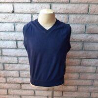 Nicklaus Sweater Vest Mens Large Dark Navy Blue V-Neck Sleeveless Pullover