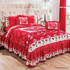 Red Roses Bedspread and Sheet Set ~9PCS KING SIZE Comforter Flowers Decoration