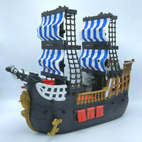 🔥Fisher Price Toy Imaginext Black Red Pirate Ship Blue & White Sails Boat 2006