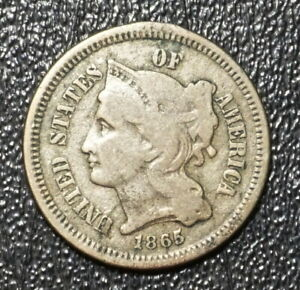 1865 3c three cent NICKEL US COIN  ESTATE FIND VERY FINE  WITH FREE SHIPPING