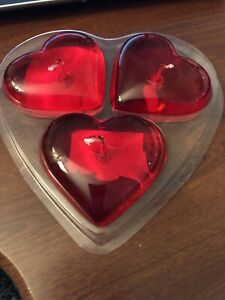 Heart Shaped Gel Floating Candles Pack of 3  Floating Candles Gel Candles