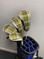 Golf Headcover 4 Pc Set 1x Driver, 2 X Fairway, 1 X Hybrid Tartan