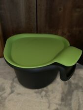 Tupperware ~ Chop Collection ~ 3 sided contianer ~ Black w/Lime Green Cover ~New