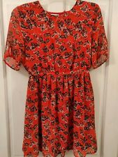 Urban Outfitters Pins and Needles Red Black Floral Dress - Medium